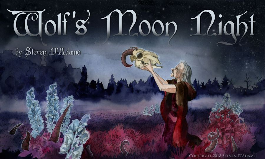 Wolf's Moon Night. Dark fantasy horror. Short story. Steven D'Adamo.